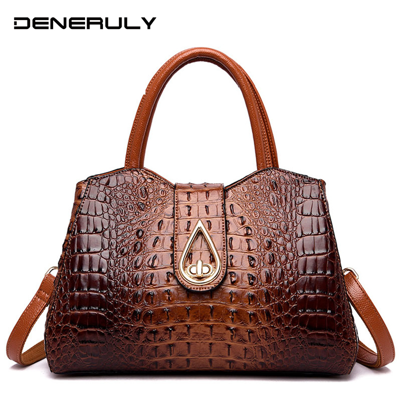 Luxury Crocodile Leather Bag Women Handbag Designer Fashion Leather Shoulder Bag High Capacity Totes Bags 2019 Famous Brand Sac