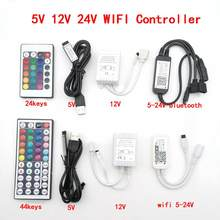 Tuya APP Smart Life DC5V 12V 24V Bluetooth Wireless WiFi Controller RGB/RGBW/RGB+CCT IR LED Controller For 5050 Led Strip Lights