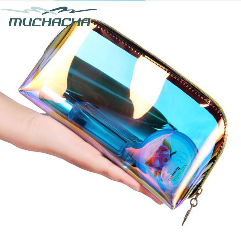 Fashion Laser Dream Colorful Holographic Beauty Organizer Pouch Clear Iridescent Clutch Makeup TPU Cosmetic Bag