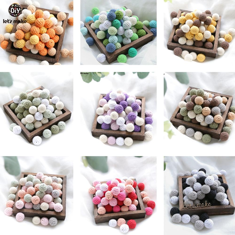 Let's Make 10pc Wooden Beads 20mm Crochet Beads Wooden Teether Baby Toys Handmade Wood Crafts Teething Rattle Beads Baby Teether