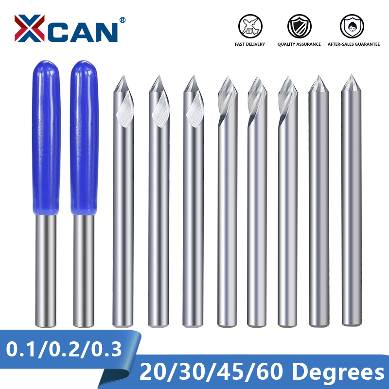 XCAN Engraving Bit 3.175mm Shank End Milling Cutter 20/30/45/60 Degrees Tip 0.1 0.2 0.3mm Carbide 3D Milling Bit