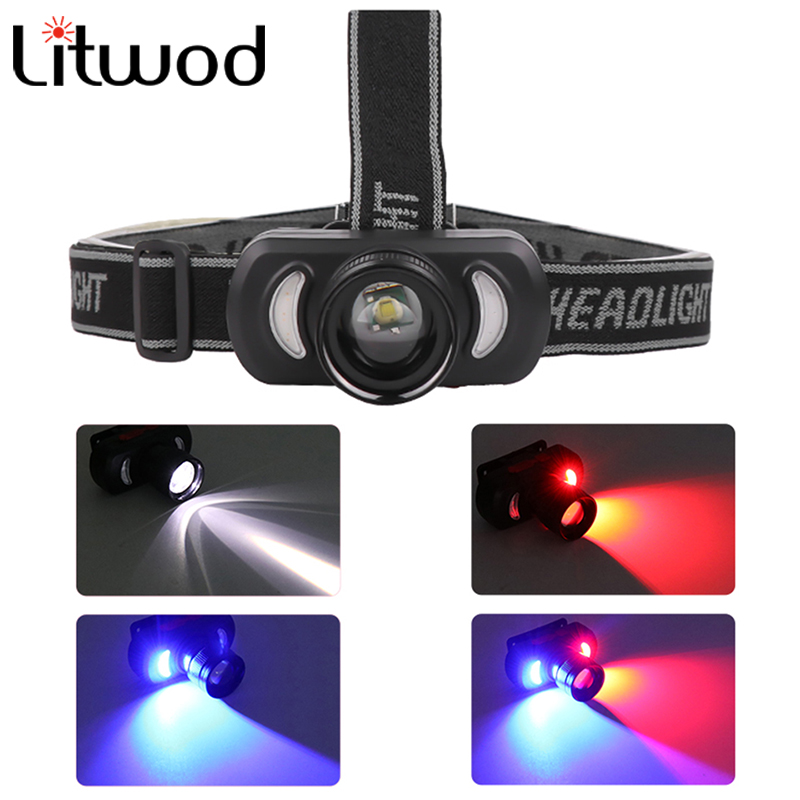 Litwod Powerful Headlamp USB Rechargeable Headlight LED Head Light With Built-in Battery Waterproof Head Lamp White Red Lighting