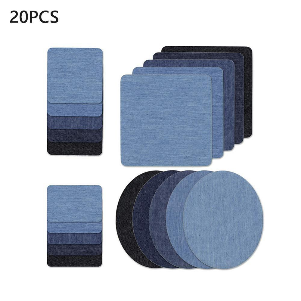 20PCS Denim Patches DIY Iron On Denim Elbow Patches Repair Pants For Jean Clothing And Jean Pants Apparel Sewing Fabric