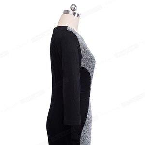 Image 4 - Nice forever Women Retro Contrast Patchwork Wear to Work Business vestidos Office Bodycon Zipper Sheath Female Dress B409