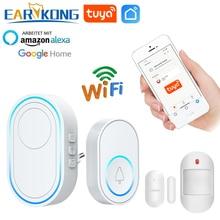 Wifi Doorbell Alarm System Intelligent Wireless Doorbell Strobe Tuyasmart app 58 sound compatible 433MHz wireless detectors