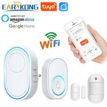 Wifi Doorbell AlarmระบบอัจฉริยะWireless Doorbell Strobe Tuyasmart App 58 เสียงเข้ากันได้กับ 433MHzเครื่องตรวจจับแบบไร้สาย