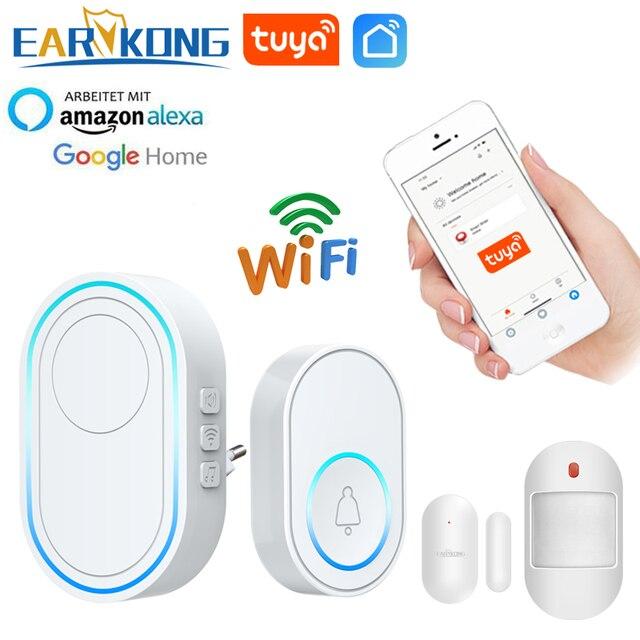 Wifi 초인종 경보 시스템 지능형 무선 초인종 스트로브 Tuyasmart app 58 사운드 호환 433MHz 무선 감지기