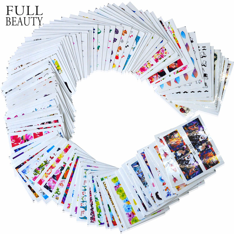 100pcs/lot Nail Sticker Decals Sets Water Transfer Different 100 Designs Beauty Full DIY Tips Nail Charm For Nail Art STZ134-233