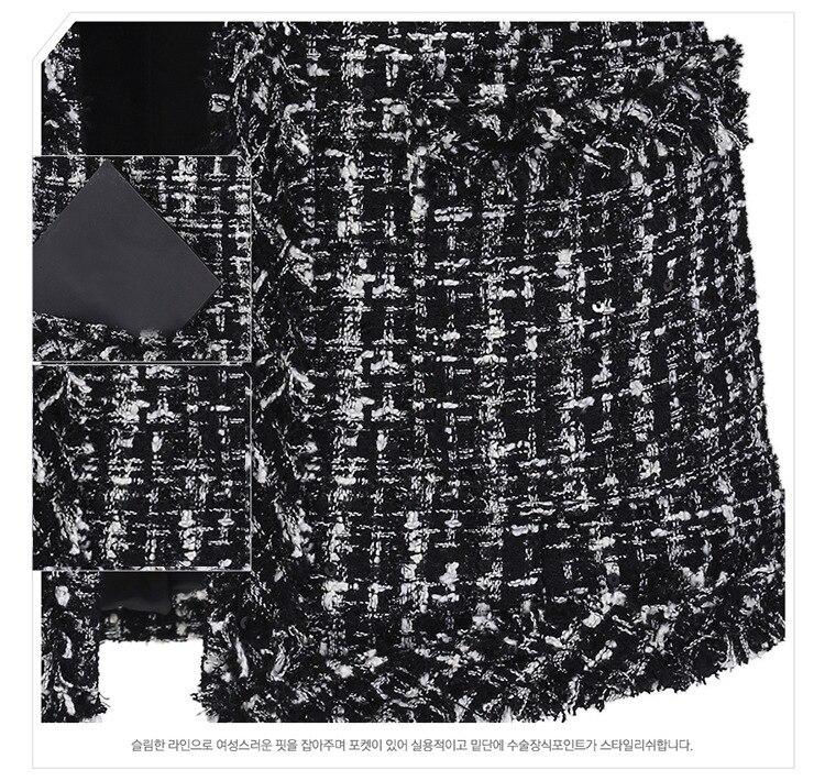 Autumn Winter Coat Women 2019 Plus Size Elegant Long Sleeve Plaid Jackets Female Vintage Oversize Tassel Tweed Wool Blends Black 59