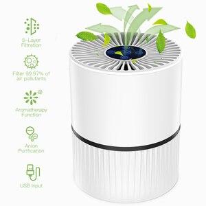 Image 2 - Filtro portátil de 3 modos, purificador de aire HEPA con carga USB, luz LED, ionizador de anión, generador de iones negativos, difusor de Aroma