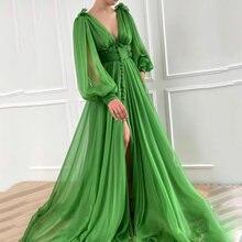 Uzn Новое поступление зеленый v образный вырез длинное платье