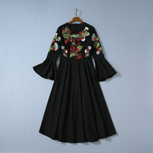 High quality floral embroidered black dress 2019 autumn runways flare sleeves Fashion women party A834