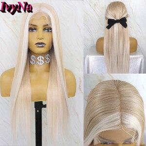 Peluca frontal de encaje sintético para mujer de IvyNa, peluca delantera de encaje sintético de 13x6 larga y recta, peluca frontal de encaje con platino mezclado Rubio pre-arrancado
