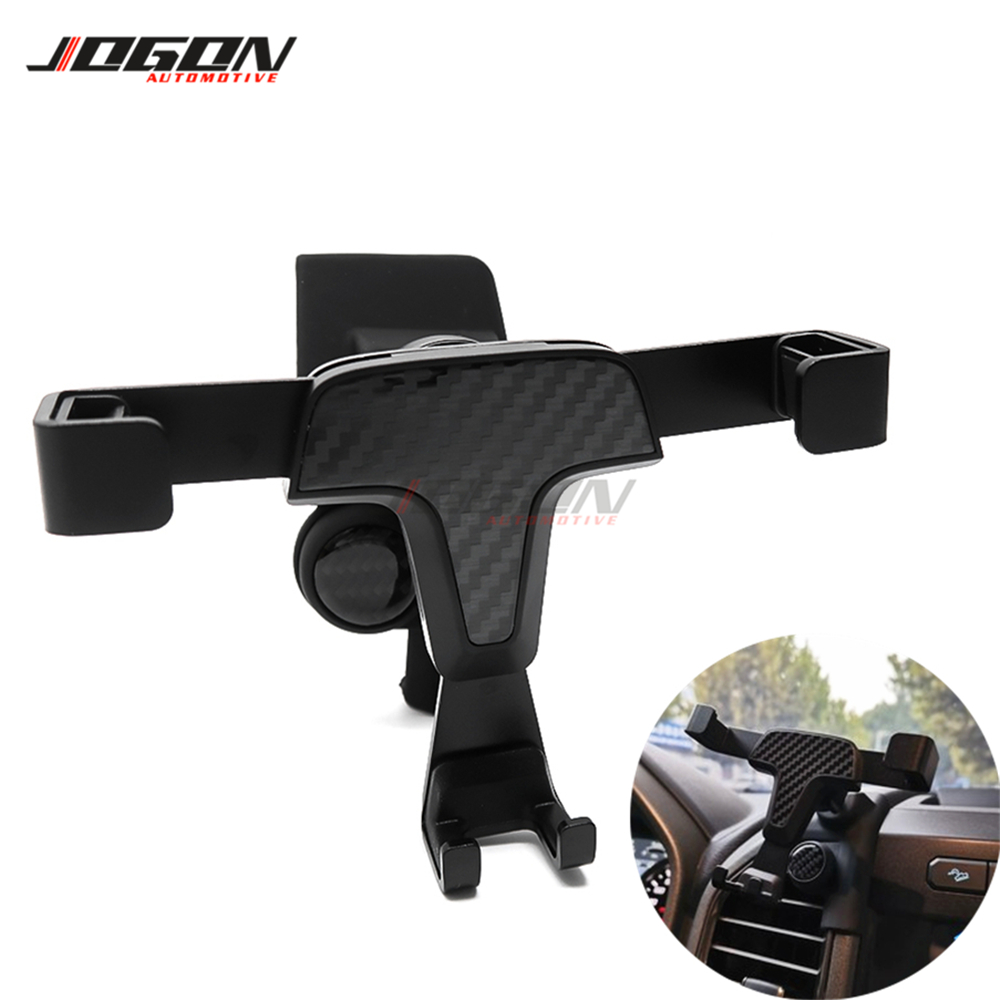 Carbon Fiber Look Gravity Mobile Phone Holder Air Vent Outlet Dashboard Mount Stand For Ford F-150 F150 2015-2019 Raptor Pickup
