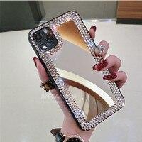 Funda de espejo de maquillaje para iphone, carcasa lujosa a la moda con purpurina de diamante para iphone 11, 12 Pro Max, XR, X, XS Max, 6s, 7, 8 Plus