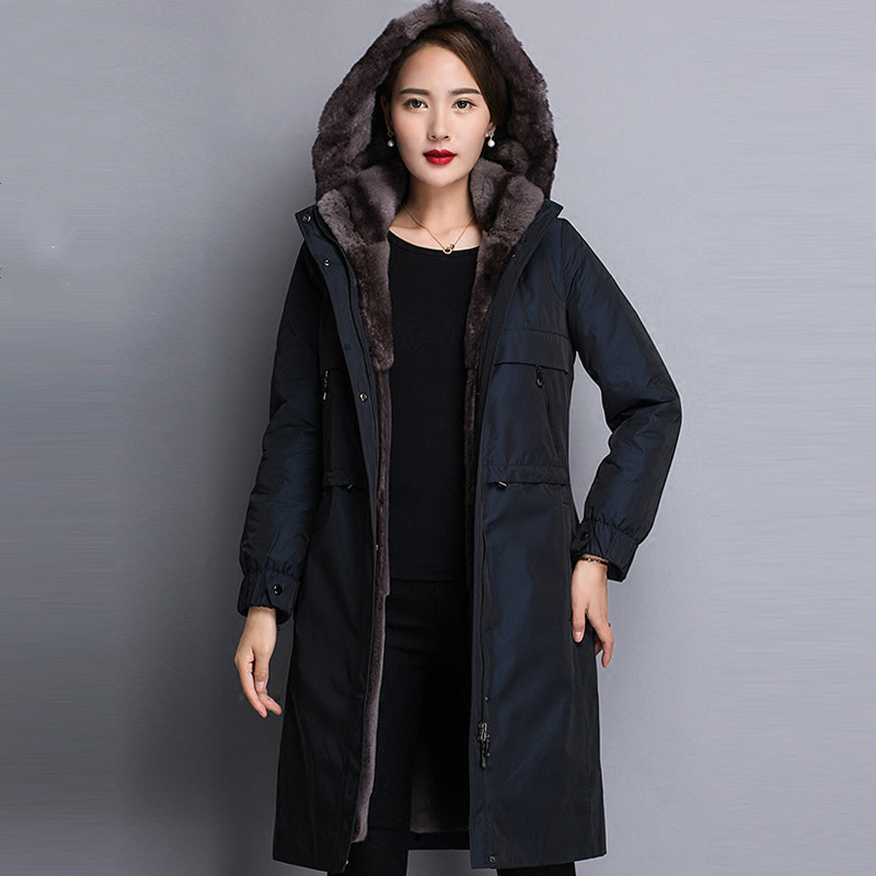 Top Quality Rex Rabbit Fur Warm Coat Real Fur Parka Winter Women Thickening Hooded Jacket Casaco YM17DP0055 MF296