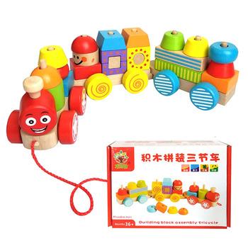 Nowe dzieci drewniane bloczki kolorowe montaż trzy małe budowanie pociągu drewniana zabawka dla dzieci wczesne zabawki edukacyjne dla dzieci tanie i dobre opinie CN (pochodzenie) do not eat Drewna 5-7 lat 2-4 lat Zwierzęta i Natura Transport YL-014 Assembling three cars 32*7cm Children (2-7 years old)