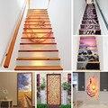 18x100cm retro grão de madeira escadas adesivos à prova dremovable água removível adesivo papel de parede vinil escada decalque da parede casa design escalier