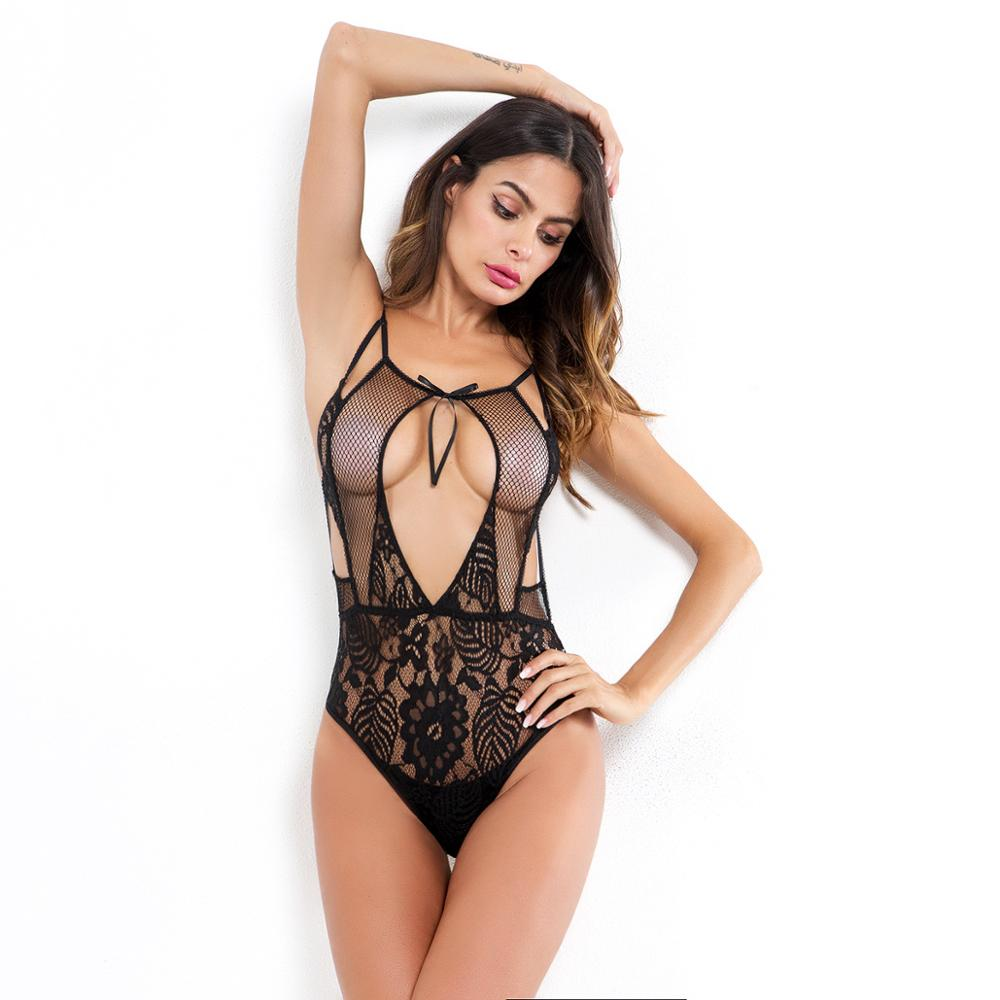 Women Sexy Fashion Lace Up Hollow Mesh Fit Bodysuit  Lace Embroidered Floral Sleeveless Backless Tight Jumpsuit Slim Romper