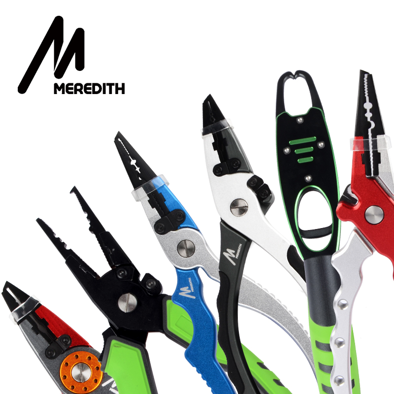 MEREDITH Aluminum Alloy Fishing Pliers Split Ring Cutter , Fishing Lip Grip Weight Scale Sheath&Retractable Tether Combo Tackle