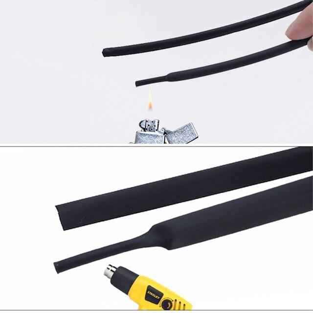 5 mètres/lot bricolage noir 21 manchon de câble 1mm 1.5mm 2mm 2.5mm 3mm 3.5mm 4mm 5mm 6mm Tube thermorétractable