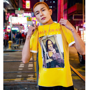 Image 5 - 2019 Men Hip Hop T Shirt Funny Smoking Mona Lisa T Shirt Streetwear Summer Tshirts Short Sleeve Cotton Tops Tees Street Wear