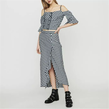 Runway Sexy Strapless Crop Tops Set Women Knitted Split Skirt Suits Summer Spaghetti Strap 2 Pieces Sets Plaid Party Ladies Suit