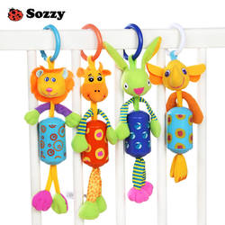Милые животные плюшевые погремушка висит колокол мобильных мягкий, для новорожденных пинетки Развивающие игрушки для новорожденных