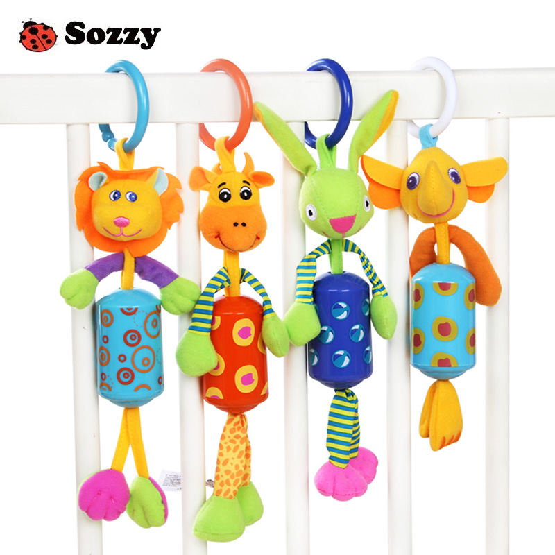 Cute Animal Plush Rattles Stroller Hanging Bell Mobiles Infant Baby Soft Crib Educational Toys for Newborn Children Gift Sozzy(China)