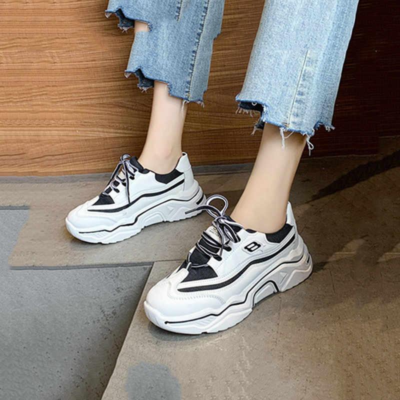 Grosso Della Piattaforma di Lusso scarpe Da Tennis Delle Donne di Modo Cesto di Pizzo-up Piatto Mesh Traspirante DELL'UNITÀ di elaborazione di Cuoio di Sport Papà Scarpe E Nero bianco