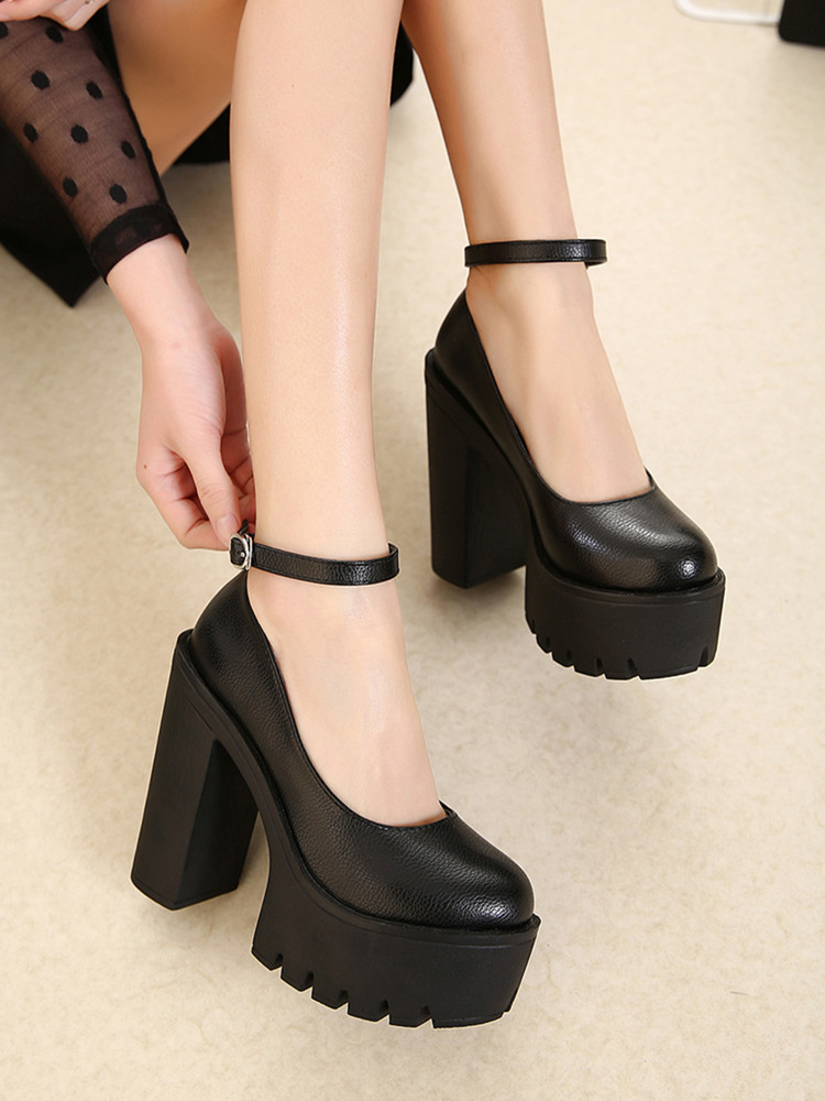 Gdgydh Platform Pumps High-Heeled shoes Spring Sexy Black White Size-42 Autumn New Casual