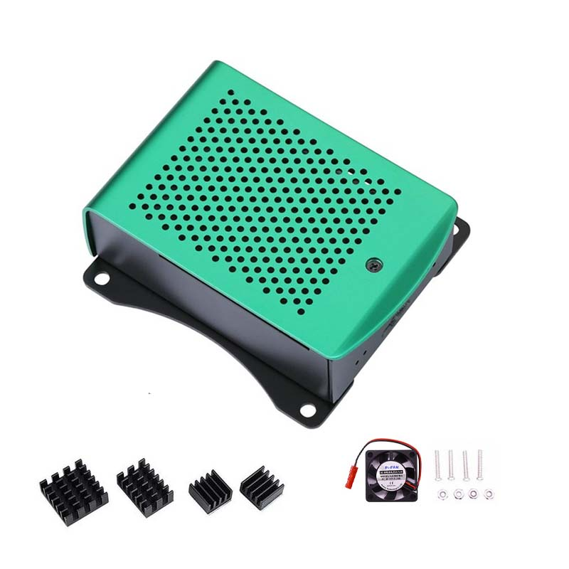 2020 Newest Aluminum Raspberry Pi 4 Case With Fan Hanging Bracket Compatible + Heatsink For Raspberry Pi 4 Model B