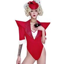 Red Sexy Nightclub Singer Stage Outfits Gogo Dancer Costume Women Jazz