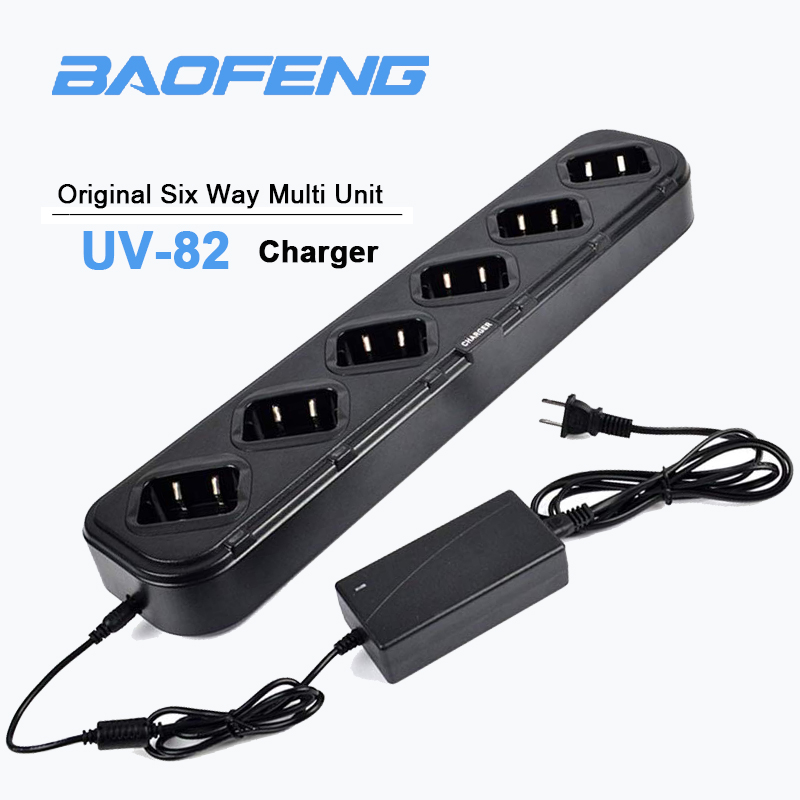 Original 6-Way Multi Unit Radio Battery Charger For BaoFeng Two Way Radio UV-82 UV-82C UV-82L UV-82X UV-82HP UV-8D Walkie Talkie
