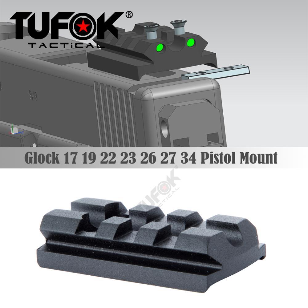 TuFok 3 Slot 4 Slot Glock Sight Mount Plate Fit Glock 17 19 22 23 26 Rail For Viper Sightmark Burris Vortex Red Dot Sight