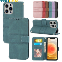 Funda de cuero de lujo para iphone 13 12 11 Pro XS Max Mini X XR funda con soporte abatible para iphone 6 6S 7 8 Plus SE 2020 funda tipo cartera