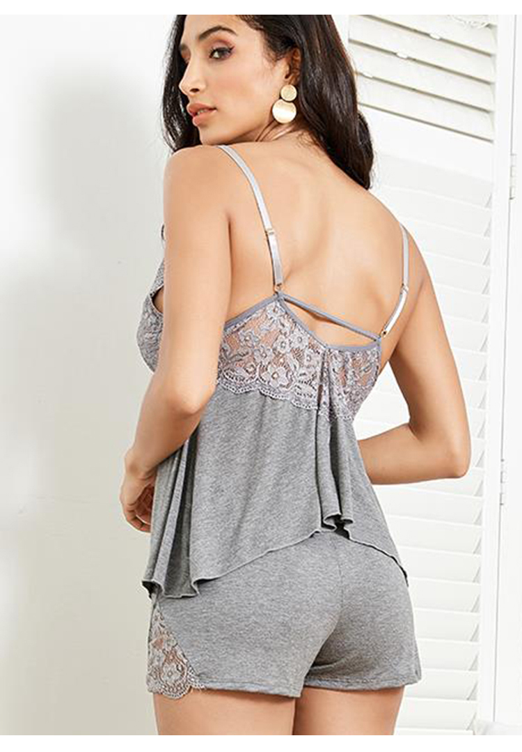 GVN Rocks Sleeveless Lace Top And Shorts Camisole Sleepwear