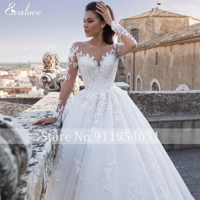 EVALOVE Luxury Scoop Neck Lace Up Beading A-Line Wedding Dress Gorgeous Long Sleeve Appliques Sparkly Tulle Vintage Bridal Gown 6
