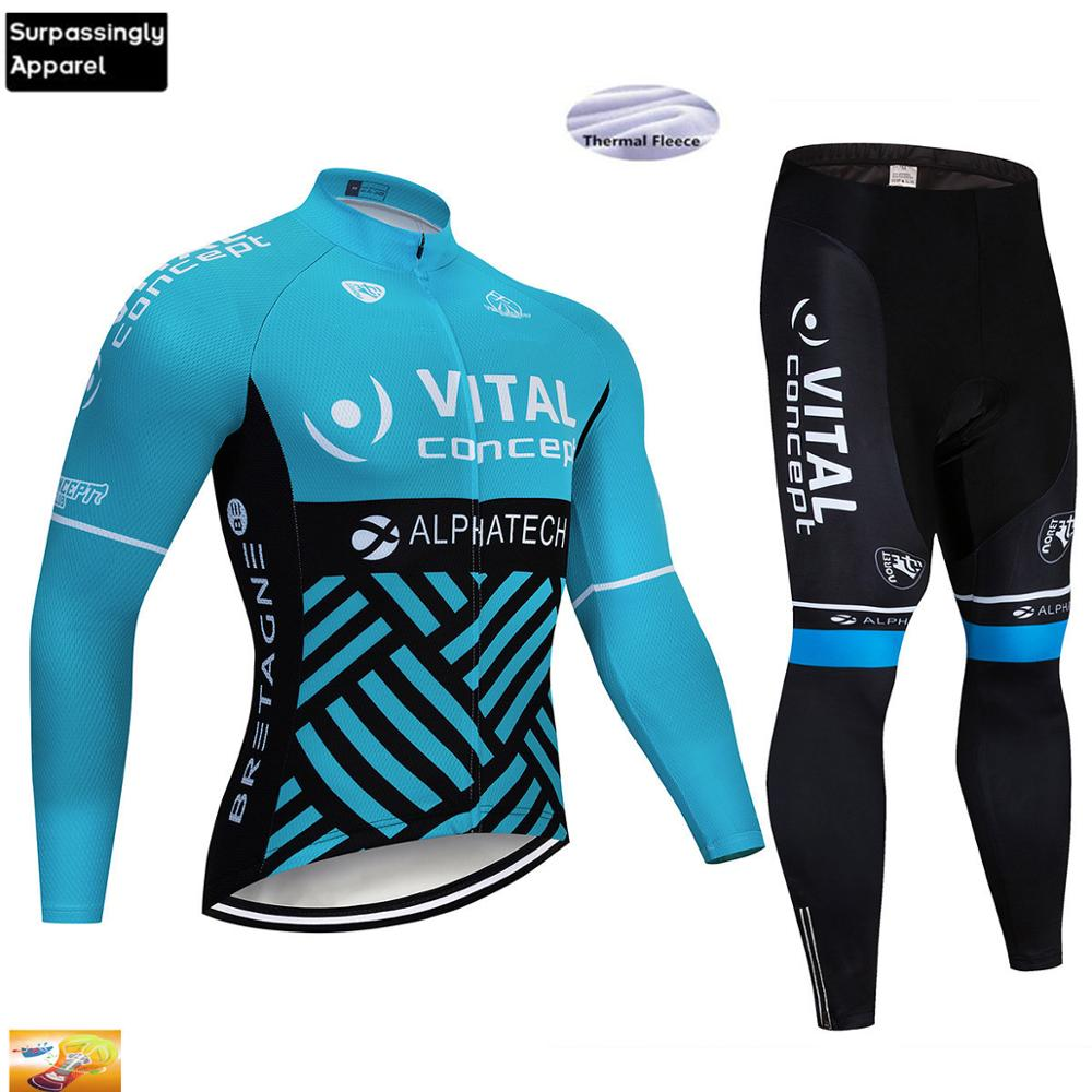 2019 BLUE VITAL TEAM Winter Thermal Fleece Cycling Jersey Bike Pants Set Mens Ropa Ciclismo 12D Bicycling Maillot Culotte Wear|Cycling Sets| |  - title=