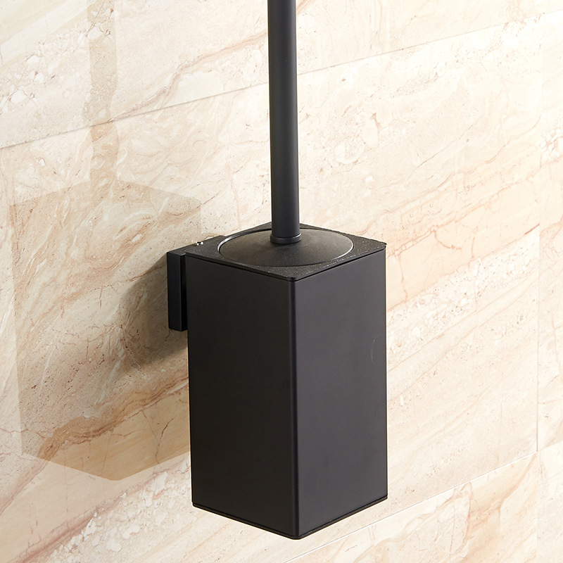 Vidric Wall Mounted Stainless Steel Inner Plastic Bucket Toilet Brush Holder Black, Perforated Metal Pendant Racks