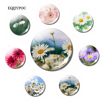 Daisy Flower Sticker Magnetic 30MM Glass Glass Natural Scenery Fridge Magnet for Refrigerator Leave Message for Home Decor 1