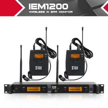 XTUGA IEM1200 wireless In Ear Monitor System 2 Channel 2 Bodypack Monitoring with in earphone wireless Type Used for stage in ear monitor wireless system professional for stage performance sr2050 iem with 10 receiver