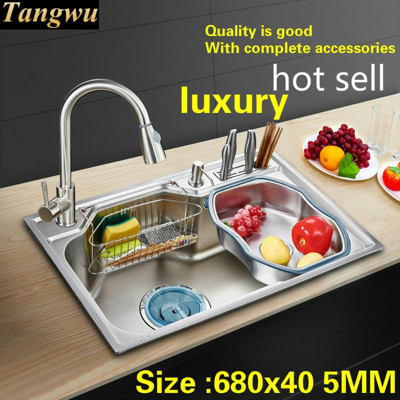 Free Shipping Household Vogue Luxury Kitchen Single Trough Sink 304 Stainless Steel Big Standard Hot Sell 680x450 MM