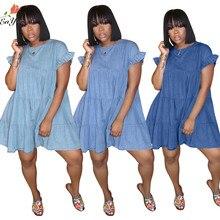 Enyu 2020 молодая Милая Сексуальная Леди Девушка умное однотонное 2 цвета синее платье с коротким рукавом ТРАПЕЦИЕВИДНОЕ ПЛАТЬЕ ДЛЯ МАЛЫШЕЙ Кук...