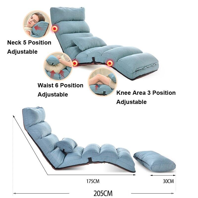 Y74 Lazy Bean Bag Sofa Tatami Folding Recliner Chair Creative Leisure Sofa Folding Easy&Space Saving&Easy Carry 205*56*20cm