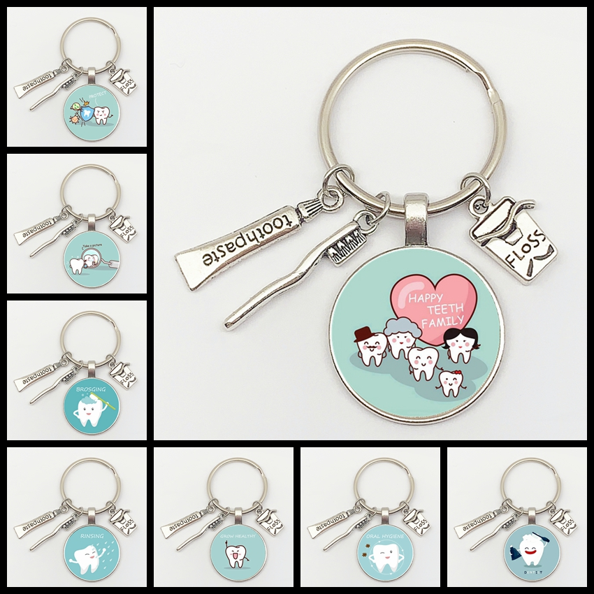 New Fashion Personalized Dentist Dental Glass Keychain Dental Assistant Gift Dental Care Jewelry Keychain Crafts