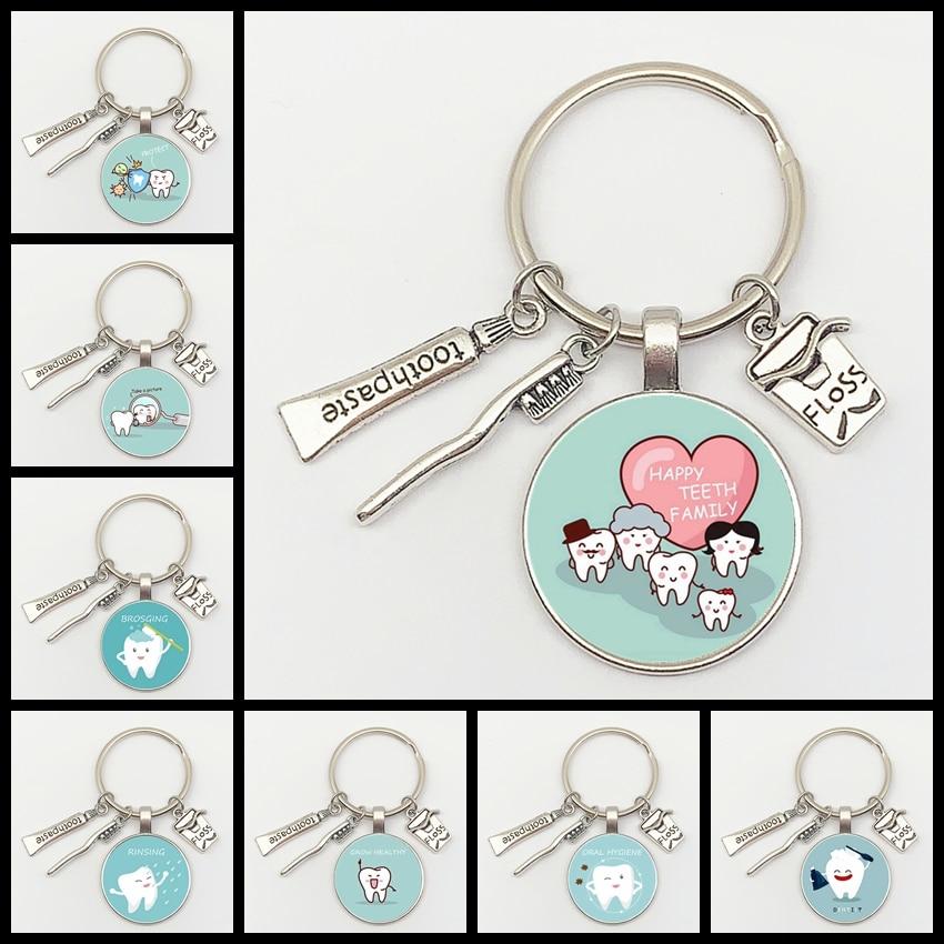 New Fashion Personalized Dentist Dental Glass Keychain Dental Assistant Gift Dental Care Jewelry Keychain Crafts