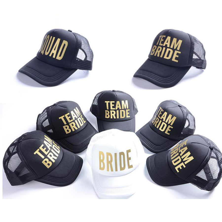 BRIDE Wedding Baseball Cap Gold Print Mesh Hat Women Party Brand Bachelor Club Team BRIDE TRIBE Snapback Caps Beach Casquette
