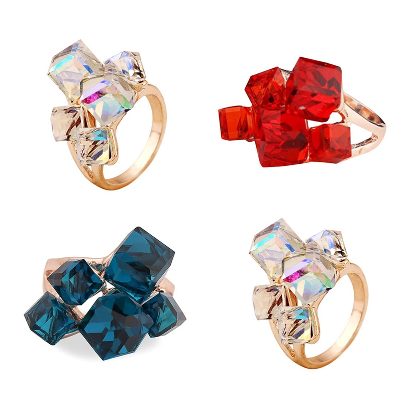 Ladies Luxury Vintage Classic Cubic Zirconia Ring Ladies Blue Engagement Ring Girl Jewelry Party Party Gifts Hot Sale Gifts