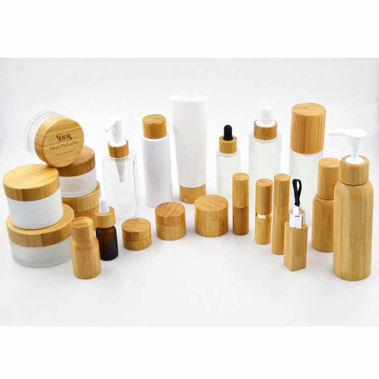 Cosmetici 30ml 50ml spalla piatta smerigliato vasetto di crema con pompa lozione di Vetro coperchio di bambù Profumo di Legno di Bambù Cap spruzzatore della Bottiglia
